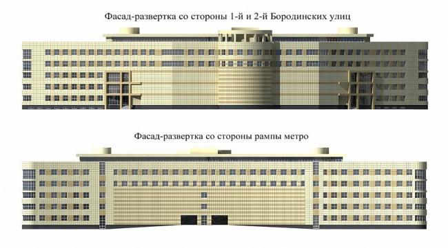 Многоэтажный гараж-стоянка с офисами на пересечении 1-й и 2-й Бородинских  улиц © МАРХИ