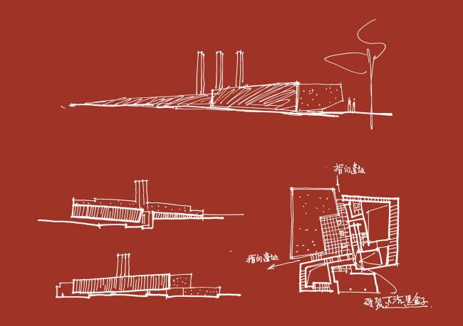 Выставочный зал доказательств преступлений японских захватчиков (Отряда 731). Эскизы Хэ Цзинтана © Architectural Design & Research Institute of South China University of Technology