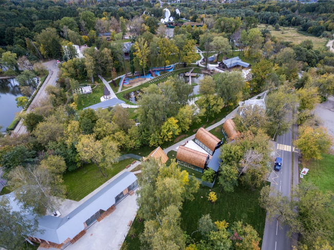Вид на ферму с высоты птичьего полета. Городская ферма на ВДНХ, 2 очередь. Бюро Wowhaus. Фотография © Митя Чебаненко