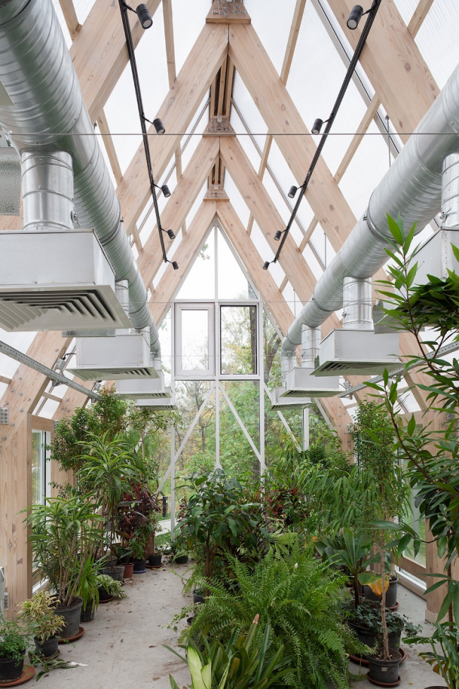 Interior of the greenhouse pavilion. Urban farm at VDNKH, 2nd stage. Wowhouse. Photograph © Mitya Chebanenko