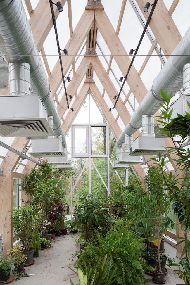 Interior of the greenhouse pavilion. Urban farm at VDNKH, 2nd stage. Wowhouse. Photograph © Mitya Chebanenko