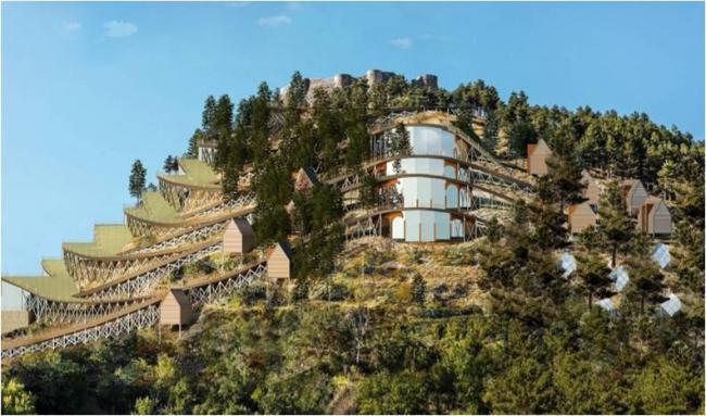 Проект отеля на территории замка Роккамандольфи, гран-при конкурса «Эко-тектоника»-2017 © Евгений Монахов