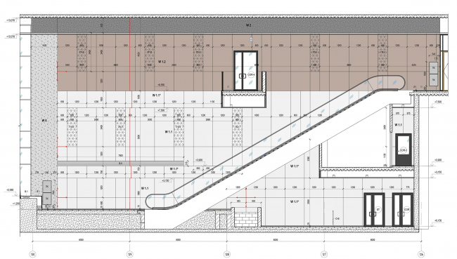 Концепция интерьеров общественных зон бизнес-центра Neo Geo. Развёртка стен по оси 15 © Т+Т Architects