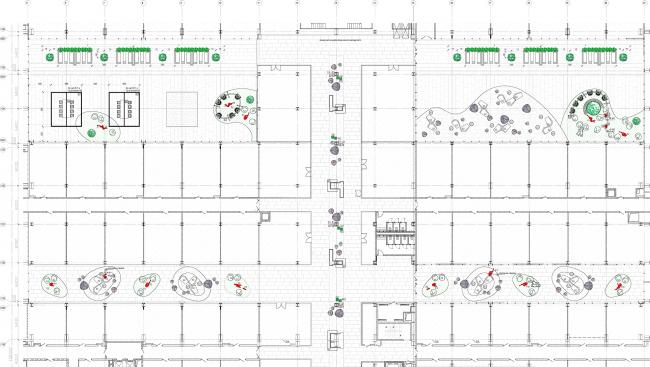 Концепция интерьеров общественных зон бизнес-центра Neo Geo. План с расстановкой мебели, 1 этаж  © Т+Т Architects