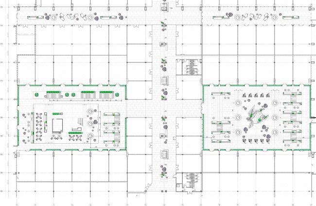 Концепция интерьеров общественных зон бизнес-центра Neo Geo. План с расстановкой мебели 2 этажа © Т+Т Architects