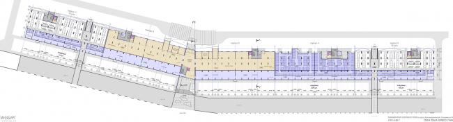 Проект апартамент-отеля в Геленджике. Схема плана первого этажа © Гинзбург Архитектс