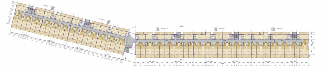 The project of an apratment hotel in Gelendzhik. Plan of the typical floor © Ginsburg Architects