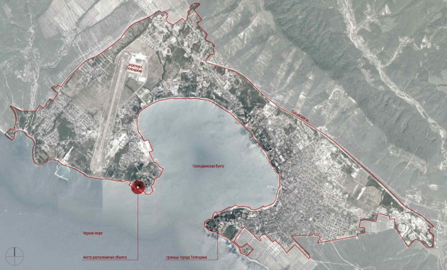 The project of an apratment hotel in Gelendzhik. Location plan © Ginsburg Architects