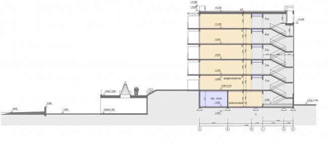 Проект апартамент-отеля в Геленджике. Разрез 2-2 © Гинзбург Архитектс