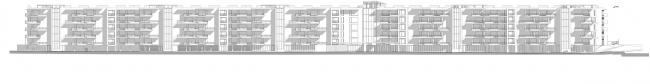 Проект апартамент-отеля в Геленджике. Развертка фасадов по ул. Набережная © Гинзбург Архитектс