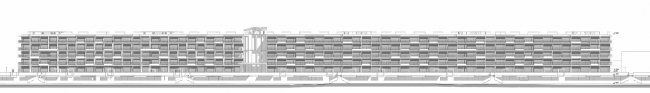 The project of an apratment hotel in Gelendzhik. Development drawing of the facades along the beach line © Ginsburg Architects