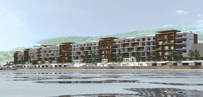 The project of an apratment hotel in Gelendzhik. Perspective view. The south facade © Ginsburg Architects