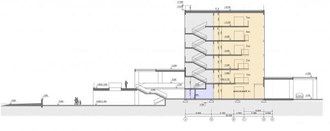 Проект апартамент-отеля в Геленджике. Разрез 1-1 © Гинзбург Архитектс