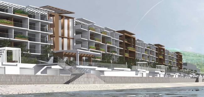 Проект апартамент-отеля в Геленджике. Перспектива. Вид на центральный вход с юга © Гинзбург Архитектс