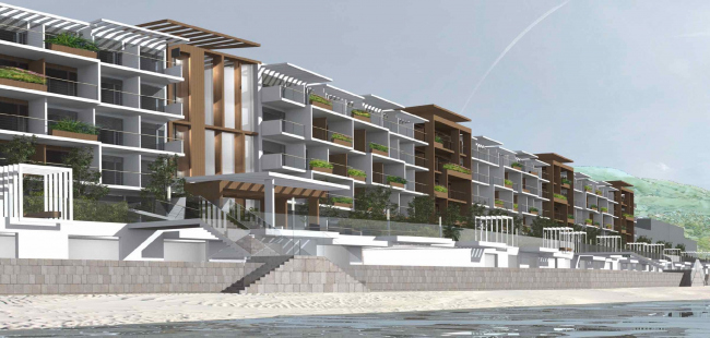 The project of an apratment hotel in Gelendzhik. Perspective view. The central south entrance © Ginsburg Architects