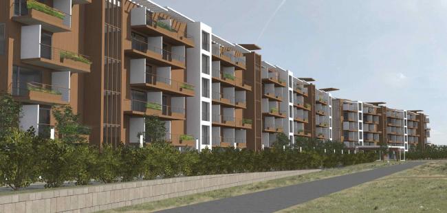 Проект апартамент-отеля в Геленджике. Перспектива. Вид на северный фасад © Гинзбург Архитектс