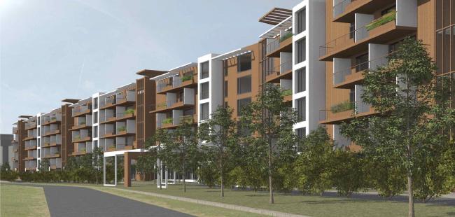 Проект апартамент-отеля в Геленджике. Перспектива. Вид на центральный вход с севера © Гинзбург Архитектс