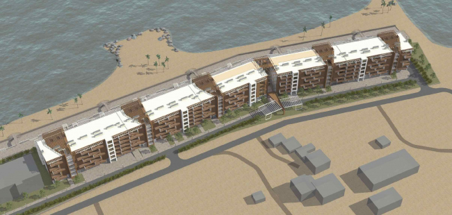 The project of an apratment hotel in Gelendzhik. Perspective view. Overview of the north facade © Ginsburg Architects