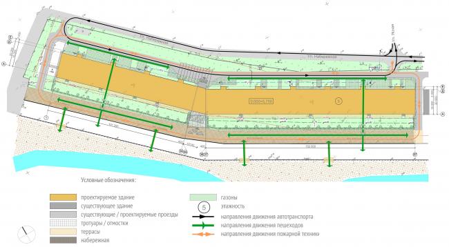 Проект апартамент-отеля в Геленджике. Схема организации движения © Гинзбург Архитектс