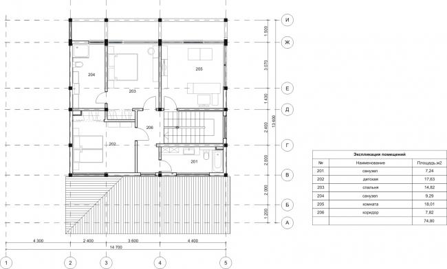 Дом Блочный. План, 2 этаж. Арендный поселок «Дарьино-Успенское» © Архитектурное бюро Романа Леонидова