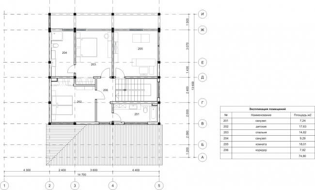 """Linked House. Plan of the 2nd floor. Rent-out settlement """"Daryino-Uspenskoe"""" ©  Roman Leonidov architectural bureau"""