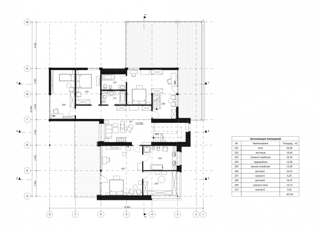 "Big House. Plan of the 2nd floor. Rent-out settlement ""Daryino-Uspenskoe"" ©  Roman Leonidov architectural bureau"