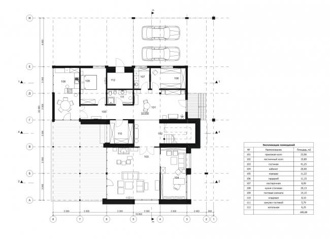 "Big House. Plan of the 1st floor. Rent-out settlement ""Daryino-Uspenskoe"" ©  Roman Leonidov architectural bureau"