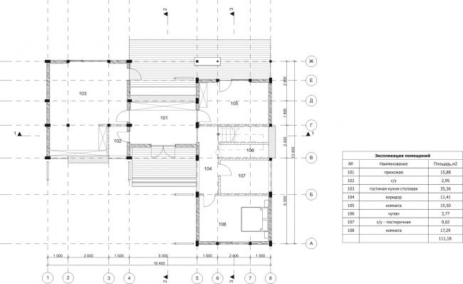Дом Лесной. План, 1 этаж. Арендный поселок «Дарьино-Успенское» © Архитектурное бюро Романа Леонидова