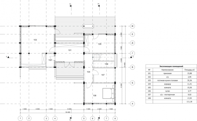 """The Forest House. Plan of the 1st floor. Rent-out settlement """"Daryino-Uspenskoe"""" ©  Roman Leonidov architectural bureau"""