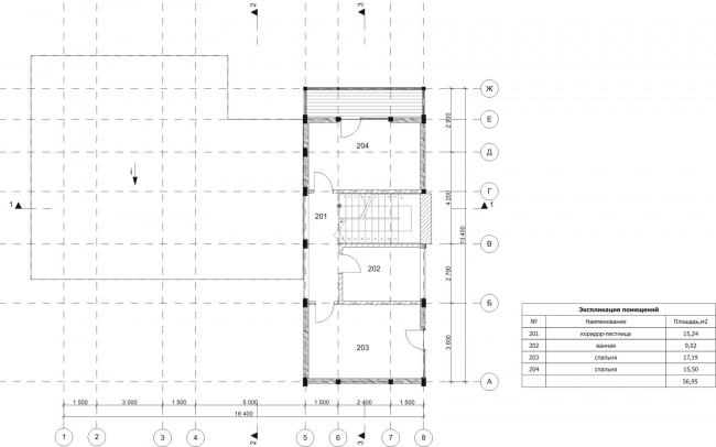 Дом Лесной. План, 2 этаж. Арендный поселок «Дарьино-Успенское» © Архитектурное бюро Романа Леонидова