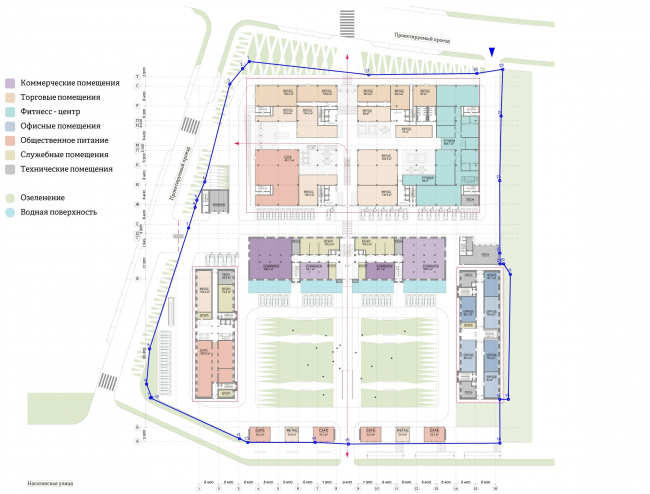 """""""Yolki-Park"""" multifuctional complex. Plan of the 1st floor © The Fourth Dimension"""