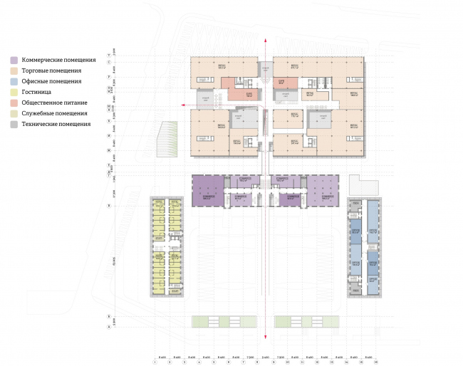 """""""Yolki-Park"""" multifuctional complex. Plan of the 2nd floor © The Fourth Dimension"""