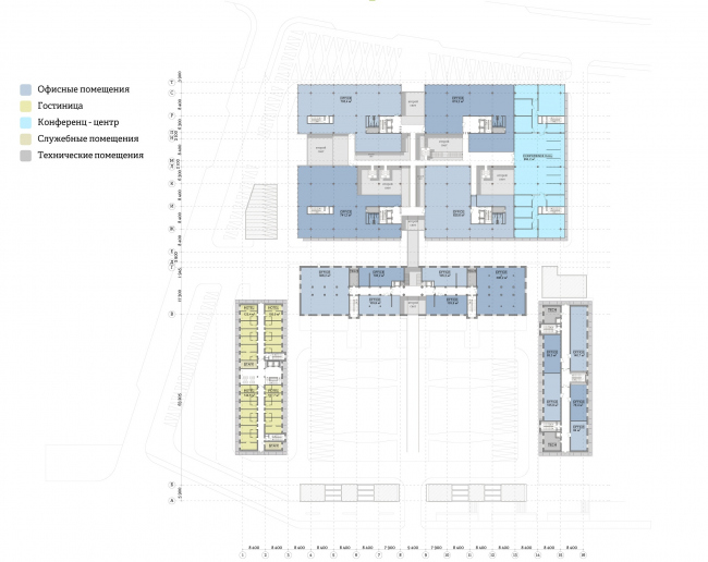 """""""Yolki-Park"""" multifuctional complex. Plan of the 3rd floor © The Fourth Dimension"""
