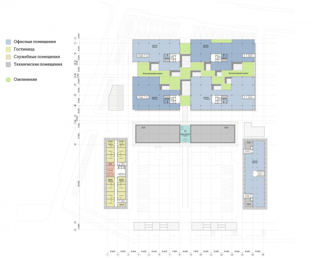 """""""Yolki-Park"""" multifuctional complex. Plan of the 5th floor © The Fourth Dimension"""