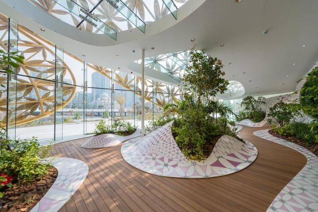 Вольер бабочек и кафе «Нур» на острове Нур, Шарджа, ОАЭ © 3deluxe architecture