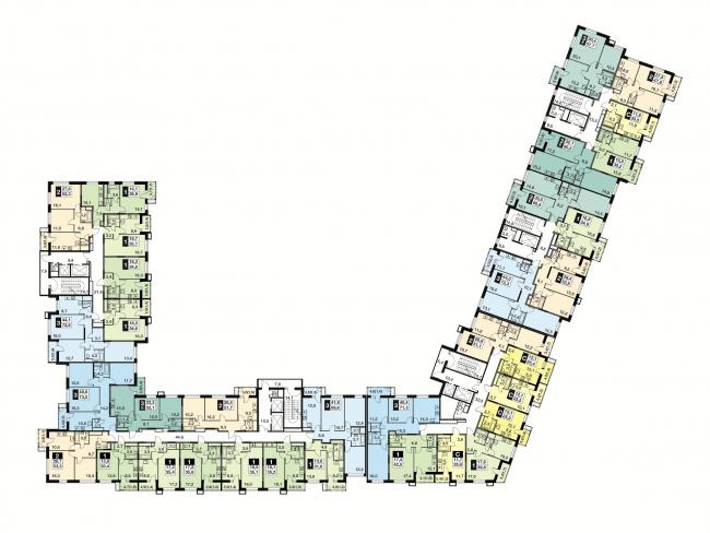 "UP-quarter ""Skandinavsky"". Building 3. Plan of the 3-14 floors © Semrén & Månsson"
