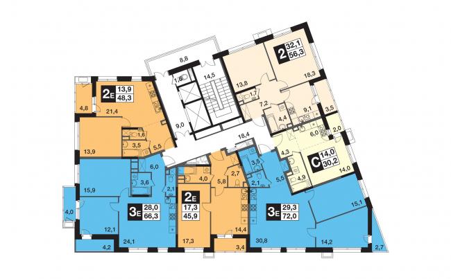 "UP-quarter ""Skandinavsky"". Building 4. Plan of the 2nd floor © Semrén & Månsson"