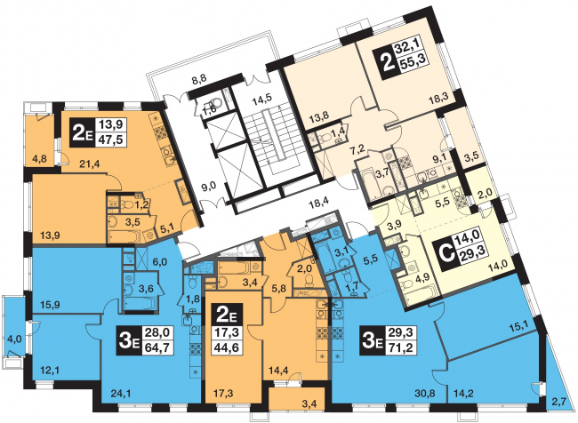 UP-квартал «Скандинавский». Корпус 4. План 3-16 этажей © Semrén+Månsson