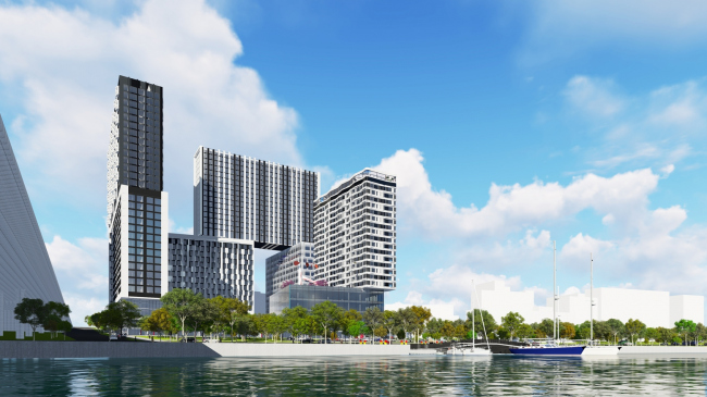 """Kandinsky Bauhaus"" residential complex in the area of the Shelepikhinskaya Embankment © UNK project"