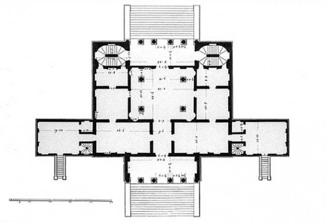 План, Вилла Корнаро (1781). Автор: Оттавио Бертотти-Скамоцци. Изображение находится в публичном доступе