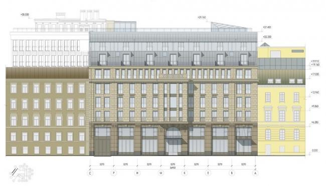 Реконструкция здания под гостиничный комплекс. Фасад в осях С-А © ООО «Григорьев и партнеры»