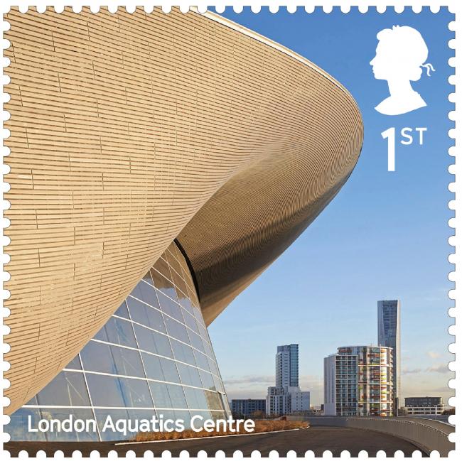 Олимпийский центр водных видов спорта. Landmark Buildings © Royal Mail