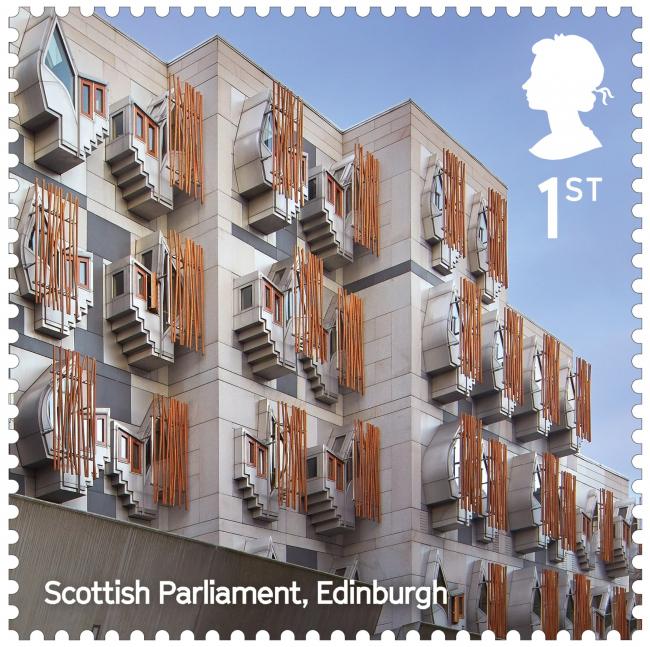 Здание Шотландского парламента. Landmark Buildings © Royal Mail