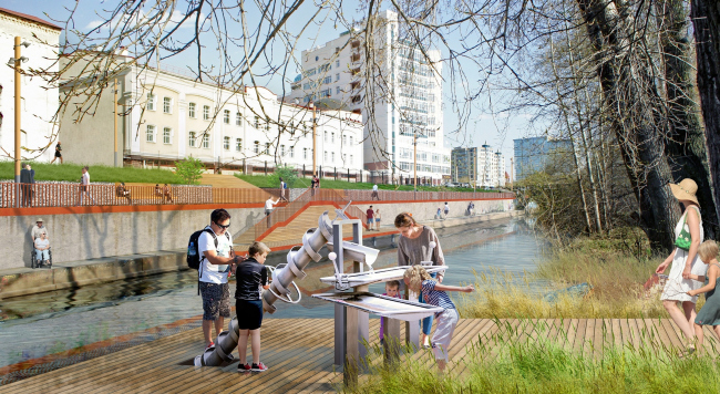 Project of organizing the waterfront of the Iset River from the Malysheva Street to Kuybysheva Street © Strelka+OSA