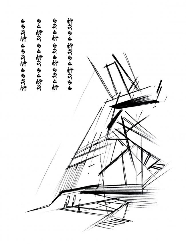Эскиз. Музей-хранилище коньячного завода «Альянс 1892» © Архитектурное бюро «Тотемент/Пейпер»