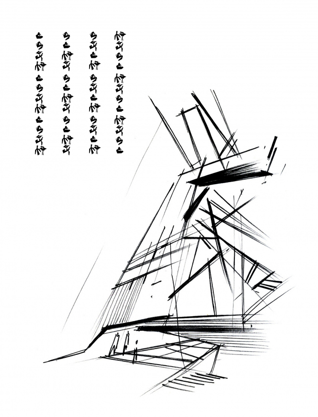 """Sketch. Repository museum of """"Alliance-1892"""" cognac house © TOTEMENT / PAPER"""