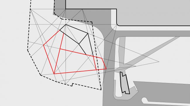 Схема важных точек и линий, положенная в основу проекта. Музей-хранилище коньячного завода «Альянс 1892» © Архитектурное бюро «Тотемент/Пейпер»