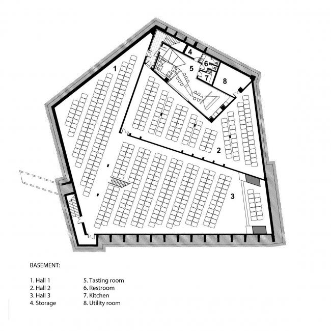 План подземного уровня: залы хранилища и дегустационный зал. Музей-хранилище коньячного завода «Альянс 1892». Подвал © Архитектурное бюро «Тотемент/Пейпер»