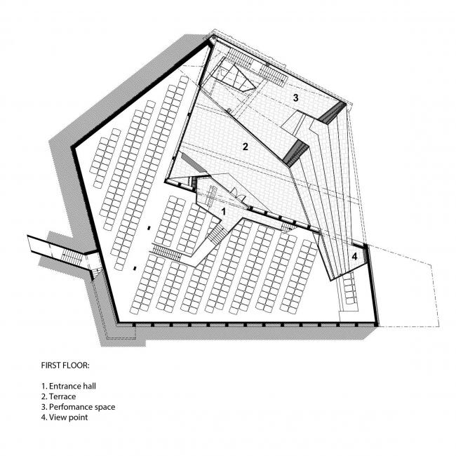План на нулевой отметке. Музей-хранилище коньячного завода «Альянс 1892». Первый этаж © Архитектурное бюро «Тотемент/Пейпер»