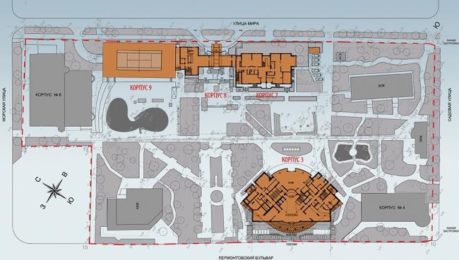 Гостиничный корпус в пансионате «Приморье» в Геленджике © АБ «Богачкин и Богачкин»